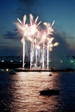 Firework. S in the city of Novosibirsk, on the river Ob Royalty Free Stock Image