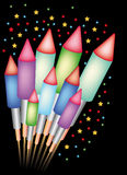 Firework. Bunch of Bottle rockets in different colors. Available as Illustrator-file Stock Photography