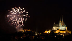 Firework above cathedral Petrov Royalty Free Stock Image