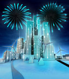 Firework above modern windmill powered city. Illustration Stock Photography