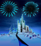 Firework above modern windmill powered environment. Illustration Stock Photography