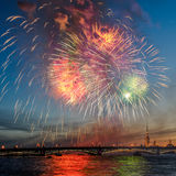 Firework. Above Peter and Paul Fortress and Neva river in Saint-Petersburg Russia royalty free stock photography