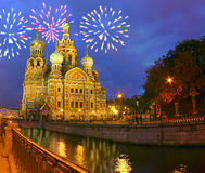 Firework above savior-on-the-blood cathedral Stock Images
