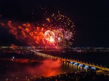 Firework above Voronezh during celebration of Victory Day, aerial view taken by drone royalty free stock images