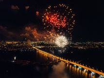 Firework above Voronezh during celebration of Victory Day, aerial view taken by drone stock photo