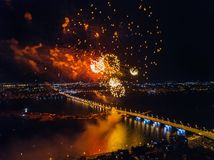 Firework above Voronezh during celebration of Victory Day, aerial view taken by drone royalty free stock photo
