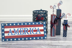 Firework with america Stock Images