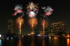 Firework At The River Stock Photography