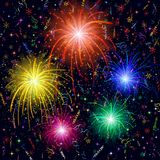 Firework background. Firework, bright color flashes, sparks, stars and streamers on black background, element for web holiday design. Eps10, contains Stock Photography