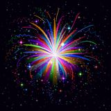 Firework background. Firework, holiday colorful background of bright colors on black, element for web design. Vector Royalty Free Stock Photography