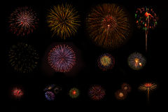 Firework background. Multiple fireworks exploding high in the sky can use for background royalty free stock images