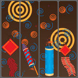 Firework banners. 4 non vector (at this moment) banners of crackers Stock Photography