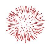 Firework . Beautiful red salute on white background. Bright firework decoration for Christmas card, Happy New. Year celebration, anniversary, festival Vector Stock Image