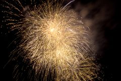 Firework blast in dark sky at night celebration new year,count d. Own event,abstract lights explosion Stock Photo