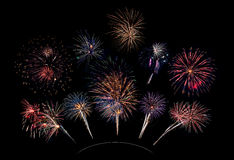 10 Firework Blasts on Curve Stock Photos