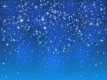 Firework on blue background. Bright sparkling fireworks on blue sky background, illustration Stock Photo