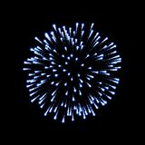 Firework blue bursting isolated black background. Beautiful night fire, explosion decoration, holiday, Christmas, New. Year. Symbol festival, American 4th july Stock Photo