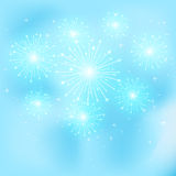 Firework on blue. Shiny firework with stars on blue background, illustration Stock Photography
