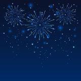 Firework in blue sky. Shiny firework on the dark blue sky, illustration Stock Images