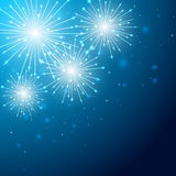 Firework on blue sky. Shiny firework with stars on blue background, illustration Stock Photos