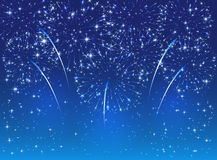 Firework on blue sky. Sparkle fireworks on blue sky background, illustration Royalty Free Stock Images