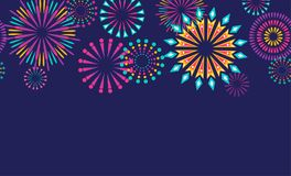 Firework border seamless background. Isolated on dark. Vector illustration vector illustration