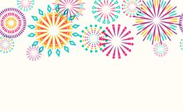 Firework border seamless background. Isolated on white. Vector illustration vector illustration