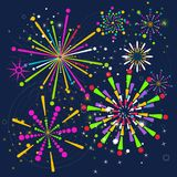 Firework bright color background. Flet vector color firework flare for festive background. Objects  on dark background Royalty Free Stock Image