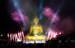 Firework and buddha Royalty Free Stock Photography