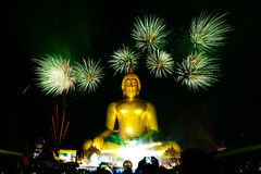 Firework and buddha Royalty Free Stock Images