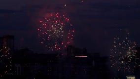 Beautiful firework at evening sky. Firework bursting over Novosibirsk City, 126-th City Birthday stock footage
