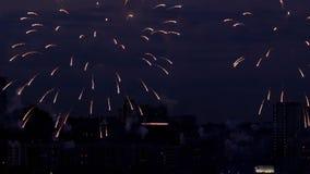 Beautiful firework at evening sky. Firework bursting over Novosibirsk City, 126-th City Birthday stock video