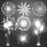Firework bursting in various shapes sparkling pictograms set. Abstract vector  illustration Stock Images