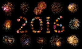 Firework Bursts Arranged in 2016 Stock Images