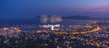Firework in Cannes. 14th july 2015 , French national day royalty free stock photography