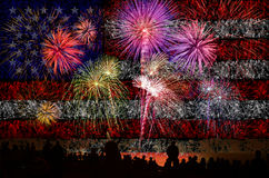 Firework celebration with American Flag Background. Royalty Free Stock Image