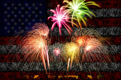 Firework celebration with American Flag Background. Royalty Free Stock Images