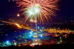 Firework. Celebration Chiangmai, Thailand Stock Images