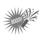Firework celebration explosion icon. Vector graphic. Firework boom bubble celebration explosion icon. Isolated and silhouette illustration. Black and White Stock Photo