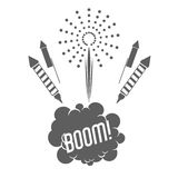 Firework celebration explosion icon. Vector graphic. Firework boom bubble celebration explosion icon. Isolated and silhouette illustration. Black and White Stock Images