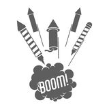 Firework celebration explosion icon. Vector graphic. Firework boom bubble celebration explosion icon. Isolated and silhouette illustration. Black and White Royalty Free Stock Image