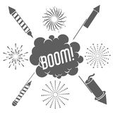Firework celebration explosion icon. Vector graphic. Firework boom bubble celebration explosion icon. Isolated and silhouette illustration. Black and White Royalty Free Stock Photography