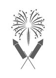 Firework celebration explosion icon. Vector graphic. Firework celebration explosion icon. Isolated and silhouette illustration. Black and White colored. Vector Stock Photography