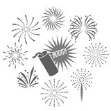 Firework celebration explosion icon. Vector graphic. Firework celebration explosion icon. Isolated and silhouette illustration. Black and White colored. Vector Royalty Free Stock Photos