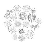 Firework celebration explosion icon. Vector graphic. Firework celebration explosion icon. Isolated and silhouette illustration. Black and White colored. Vector Stock Photos