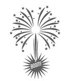 Firework celebration explosion icon. Vector graphic. Firework celebration explosion icon. Isolated and silhouette illustration. Black and White colored. Vector Royalty Free Stock Image