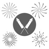 Firework celebration explosion icon. Vector graphic. Firework seal stamp circle celebration explosion icon. Isolated and silhouette illustration. Black and White Royalty Free Stock Photos