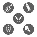 Firework celebration explosion icon. Vector graphic. Firework seal stamp circle celebration explosion icon. Isolated and silhouette illustration. Black and White Stock Photography
