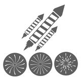 Firework celebration explosion icon. Vector graphic. Firework seal stamp circle celebration explosion icon. Isolated and silhouette illustration. Black and White Royalty Free Stock Image