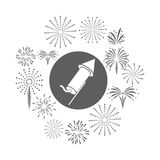 Firework celebration explosion icon. Vector graphic. Firework seal stamp circle celebration explosion icon. Isolated and silhouette illustration. Black and White Royalty Free Stock Photography